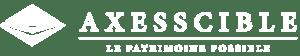 Logo en blanc Axesscible, cabinet en gestion de patrimoine